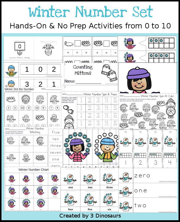 Winter Themed Number Set 0 to 10 - 92 pages of hands-on and no-prep: books, clip cards, worksheets, counting mats and more prinatbles with a witner theme working on numbers 1 to 10 - 3Dinosaurs.com #printablesforkids  #numbersforkids #winterprintables #tpt #teacherspayteachers