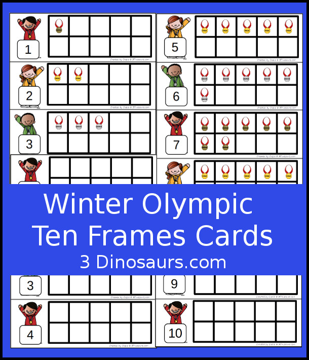 FREE Winter Olympics Ten Fram Cards Numbers 1 to 10 with two types of cards - 3Dinosaurs.com #handsonlearning #mathforkids #freeprintables #winterolympics #tenframeactivities
