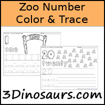 Zoo Themed Number Color & Trace