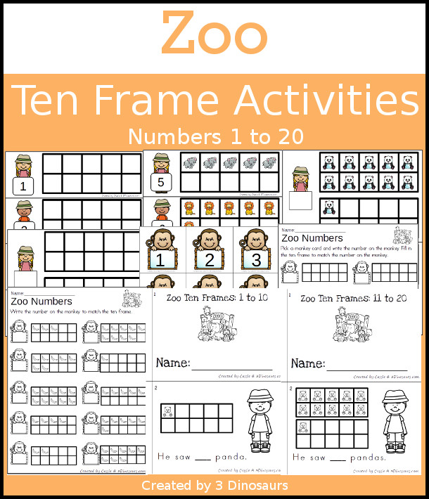 Zoo Themed Ten Frame Set: 4 sets of number cards, hands-on and no prep printables, 2 easy reader books with numbers 1 to 20 $ - 3Dinosaurs.com