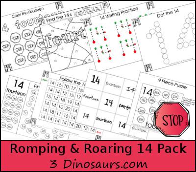 Romping & Roaring Number 14 Pack - 3Dinosaurs.com