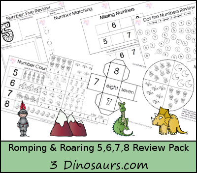 Romping & Roaring Number 5, 6, 7, 8 Review Pack - Knight, Outside, Dragon, Dinosaur - 3Dinosaurs.com