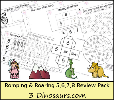 Romping & Roaring Number 5, 6, 7, 8 Review Pack - Princess, Outside, Dragon, Dinosaur - 3Dinosaurs.com