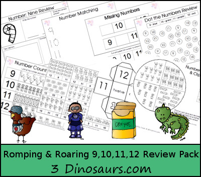 Romping & Roaring Number 9, 10, 11, 12  Review Pack - little red hen, superhero, crayons, pets - 3Dinosaurs.com