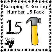 Romping & Roaring Number 15 Pack Set 2 - tool theme - 3Dinosaurs.com