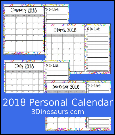 3 Dinosaurs - 2018 Calendar Set with To-Do List Printable