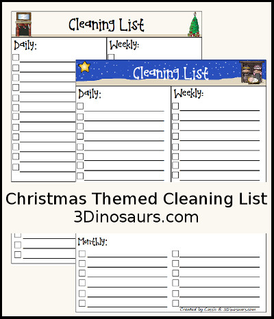 Free Christmas Monthly Cleaning List Printable - 3Dinosaurs.com