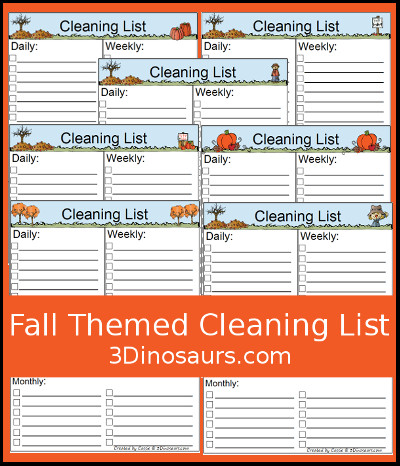 Free Fall Themed Monthly Cleaning Chart Printable - 7 different options - 3Dinosaurs.com