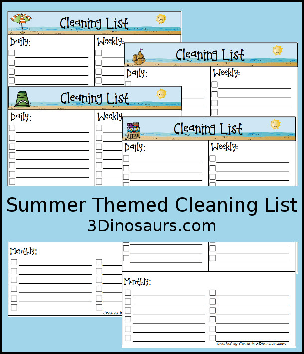 Free Summer Themed Monthly Cleaning Chart Printable - 4 different options - 3Dinosaurs.com