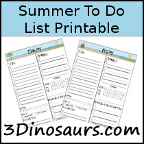 Summer Themed Organizing Printables - 3Dinosaurs.com