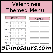 Valentines Theme Menu Printable