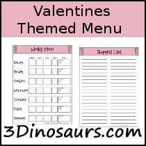 Valentines Theme Menu Printable