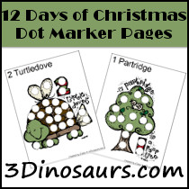 Free 12 Days of Christmas Pack - 3Dinosaurs.com