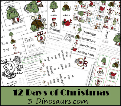 Free 12 Days of Christmas Printables - 3Dinosaurs.com