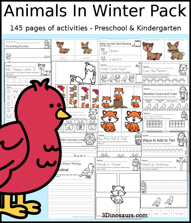 Animals In Winter Pack for PreK & Kindergarten with 148 pages of activities, cards, easy reader book, ABCs, numbers, CVC, addition, and no-prep printables - 3Dinosaurs.com