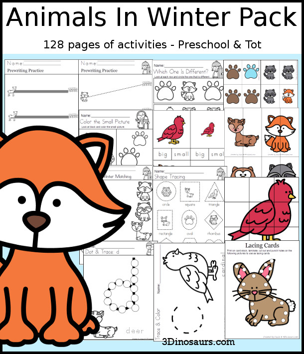Animals In Winter Pack for Preschool & Tot with 130 pages of activities, prewiting, hands-on, ABCs, Numbers 1 to 10, no-prep printables and more in a well round pack for kids to learn with - 3Dinosaurs.com