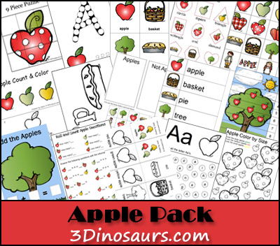 Free Apple Activities Pack | 3 Dinosaurs