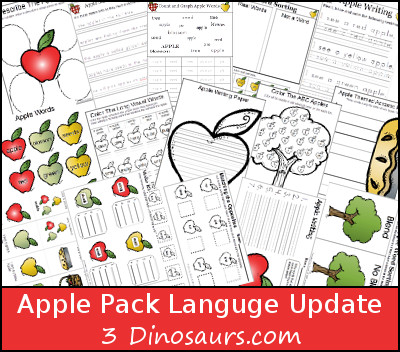 Free Apple Pack Update: Language Activities - 3Dinosaurs.com