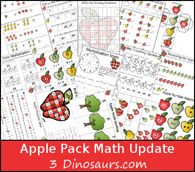 Free Apple Pack Update: Math Activities - 3Dinosaurs.com
