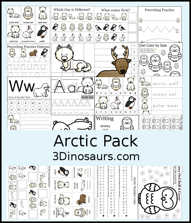 Free Arctic Pack - over 45 pages of activities with prewriting, matching, 3 part cards, tracing, writing, clip cards and more - 3Dinosaurs.com