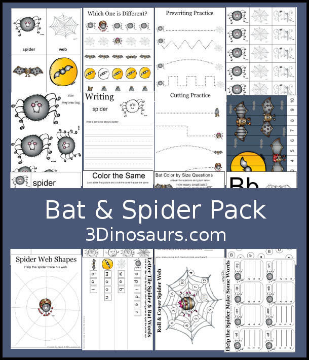 Free Bat & Spider Pack - has over 70 pages with matching, pattern cards, writing, letter tracing, spider web tracing and more - 3Dinosaurs.com