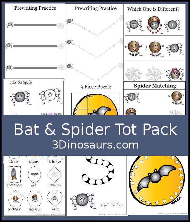Free Bat & Spider Tot Pack - has 36 pges of activities with prewriting, which is different puzzles, matching cards and dot marker letters - 3Dinosaurs.com