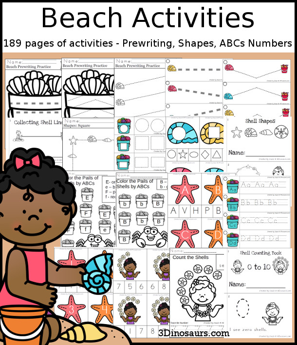 Beach Activities Pack with Prewriting, Shapes, ABCs, and Numbers - 191 pages of activities with no-prep pages, clip cards and tracing strips to help with learning skills. Plus has a cute beach & shells theme - 3Dinosaurs.com