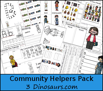 Community Helpers Pack for ages 2 to 10 - 3Dinosaurs.com