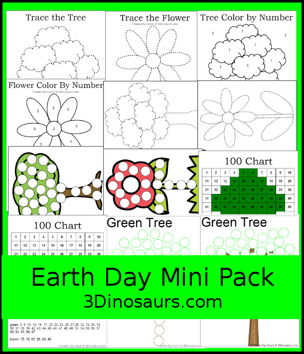 Free Mini Earth Day Printables - 12 pages of printables with fine motor activities for kids to do - 3Dinosaurs.com