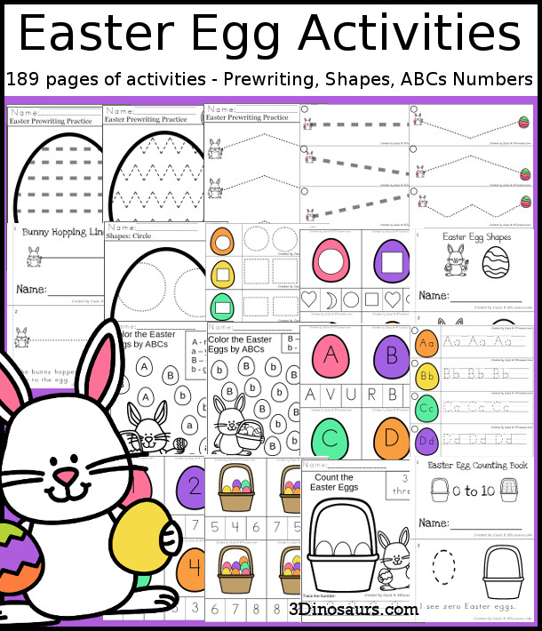 Easter Activities Pack with Prewriting, Shapes, ABCs, and Numbers - 191 pages of activities with no-prep pages, clip cards and tracing strips to help with learning skills Plus has a cute easter egg theme - 3Dinosaurs.com