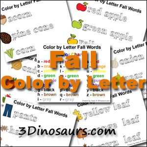 3Dino Fall Pack: Color by Letter