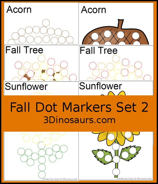 Free Fall Dot Marker Printables: with fall tree, sunflower, and acorn in two different types of dot markers - 3Dinosaurs.com