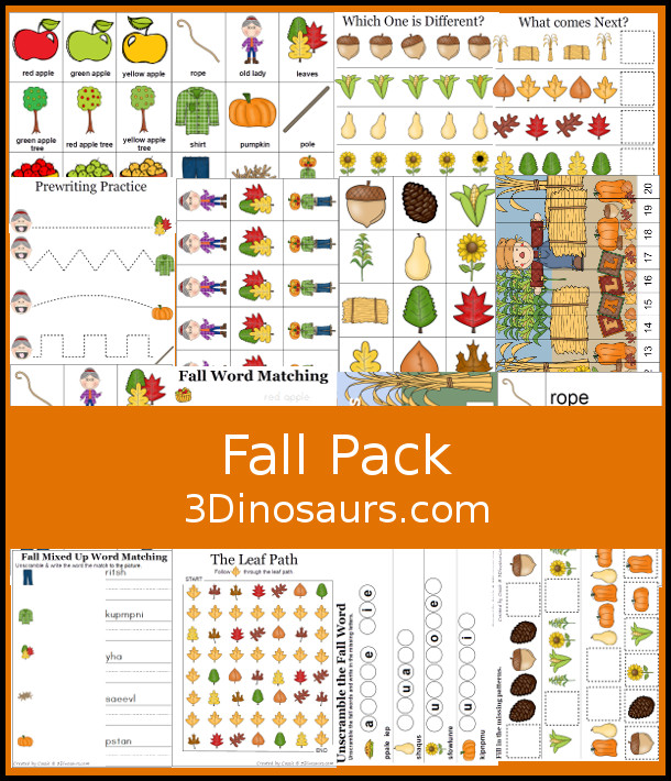 FREE Fall Pack for PreK, Kindergarten, and First Grade - with over 170 pages of activities for kids to do with a mix of hands-on and no-prep to meet needs of your kids. It has fall themes like apples pumpkin, harvets and goes with the book There was an Old Lady Who Swallowed Some Leaves - 3Dinosaurs.com