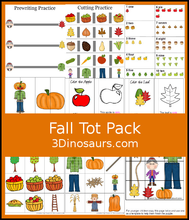 FREE Fall Tot Pack - for toddlers and preschool age kids with 26 pages of activities. It goes with the book There was An Old Lady Who Swallowed Some Leaves. You will find a mix of hands-on and low-prep activities. - 3Dinosaurs.com