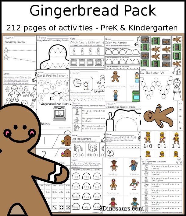 Gingerbread Packs for PreK & Kindergarten - 212 pages of activities around a Gingerbread Man Story theme. There is a mix of hands-on and no-prep printables for kids to learn with - 3Dinosaurs.com