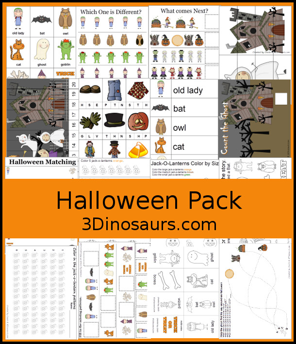 Free Halloween Pack For PreK & Kindergarten - fun printables with a mix of activities with cards, puzzles, hands-on activities and more with a fun Halloween theme that can be used with the book There was an Old Lady who Swallowed a Bat Over 110 pages - 3Dinosaurs.com