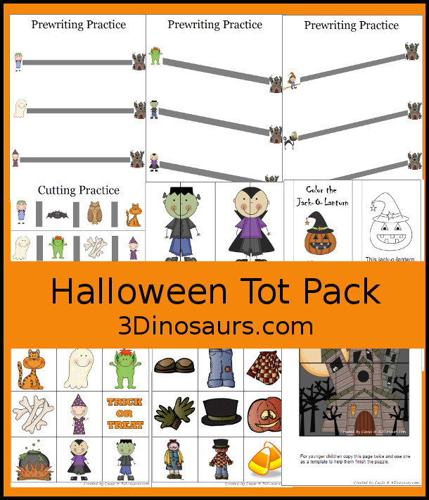 Free Halloween Pack For Tot & Preschool - fun printables with a mix of activities with cards, puzzles, hands-on activities and more with a fun Halloween theme that can be used with the book There was an Old Lady who Swallowed a Bat Over 22 page - 3Dinosaurs.com