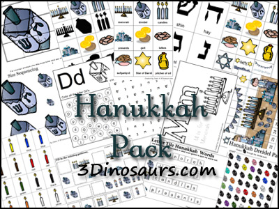 picture relating to Free Printable Hanukkah Cards named Free of charge Hanukkah Pack! 3 Dinosaurs