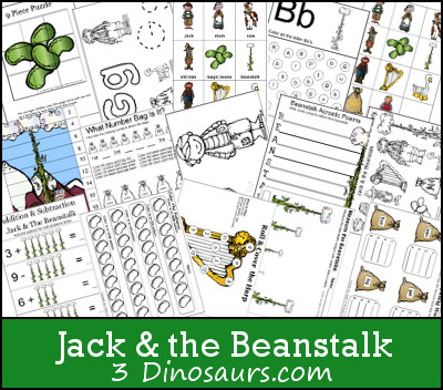 photo about Jack and the Beanstalk Printable named Absolutely free Jack the Beanstalk Pack 3 Dinosaurs
