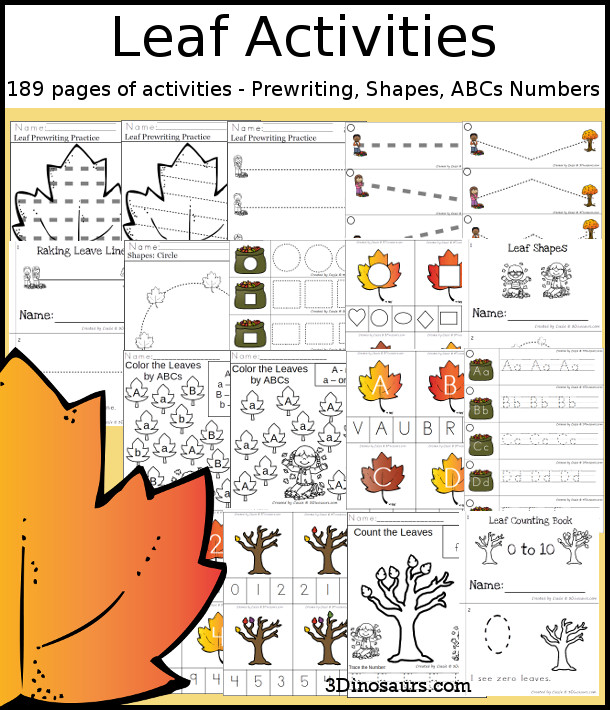 Leaf Activities Pack with Prewriting, Shapes, ABCs, and Numbers - 191 pages of activities with no-prep pages, clip cards and tracing strips to help with learning skills. A great addition to any leaf or fall theme you do. - 3Dinosaurs.com