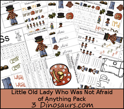 Little Old Lady Who Was Not Afraid of Anything Pack over 70 pages by 3Dinosaurs.com