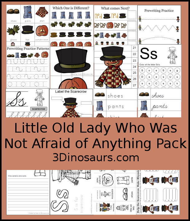 Free Little Old Lady Who Was Not Afraid of Anything Pack - over 70 pages of activities with print and cursive, puzzles, small books, rhyming words, matching, color and trace, addition, and more - 3Dinosaurs.com
