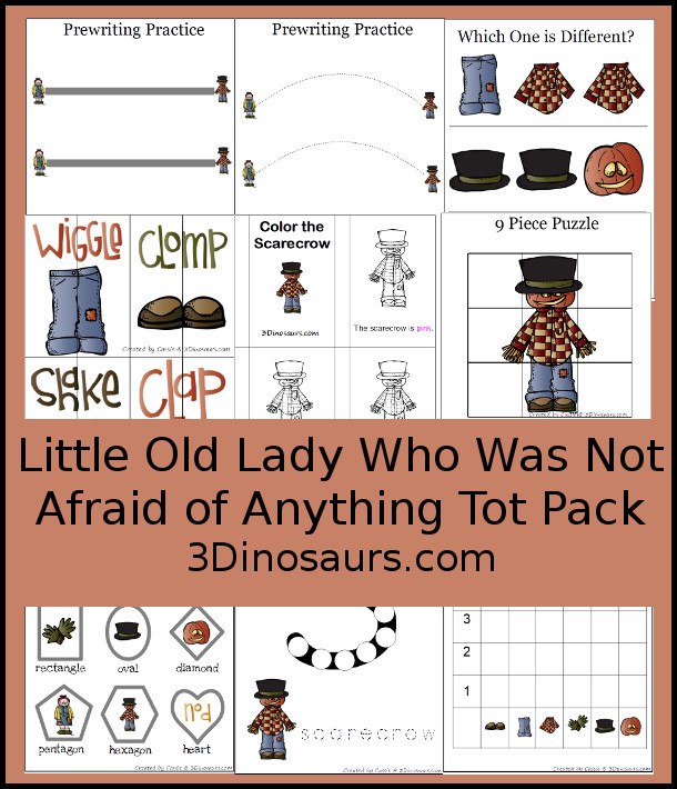 Free Little Old Lady Who Was Not Afraid of Anything Tot Pack - 30 pages of activities with prewriting lines, puzzles, small color book, dot marker letter S, shapes, and more - 3Dinosaurs.com