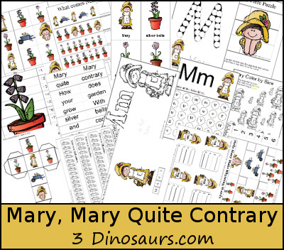 Free Mary, Mary Quite Contrary Pack - 3Dinosaurs.com