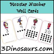 Monster Number Wall Cards