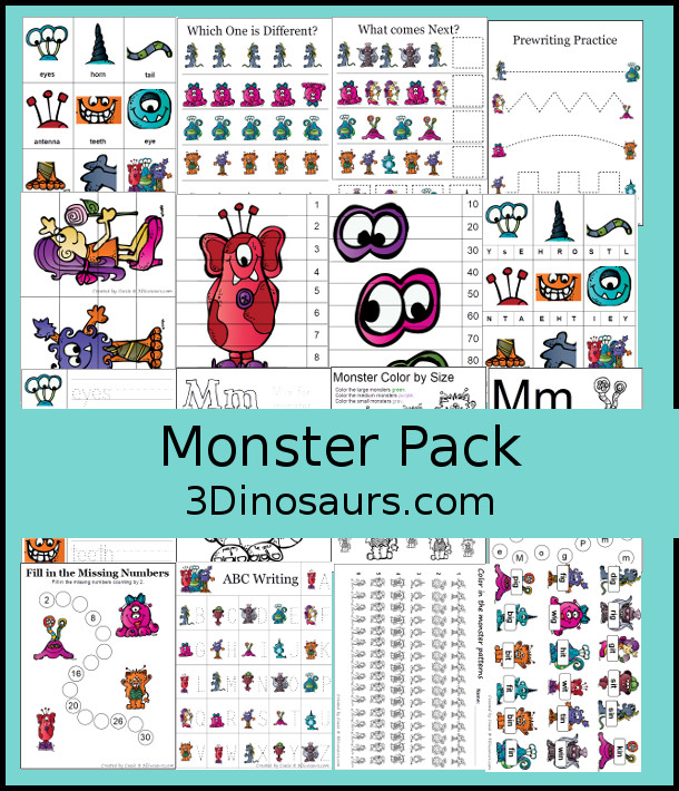 Monster Pack - with over 65 pages of activities for kids to learn numbers, size sorting, addition, subtraction, short i vowelrs, blends: be dr, or, dot the letter and more - 3Dinosaurs.com