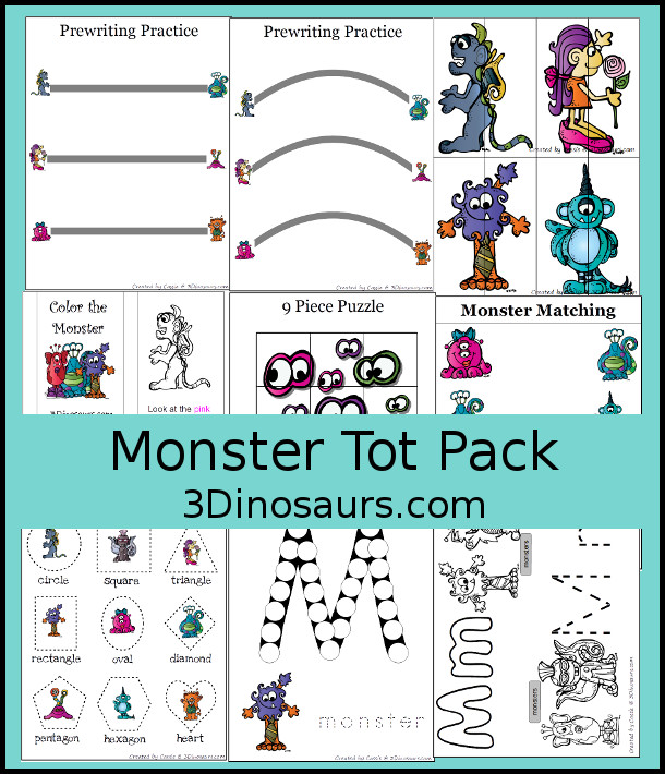 Free Monster Tot Pack - with 36 pages of activities with puzzles, letters, shapes and prewriting - 3Dinosaurs.com