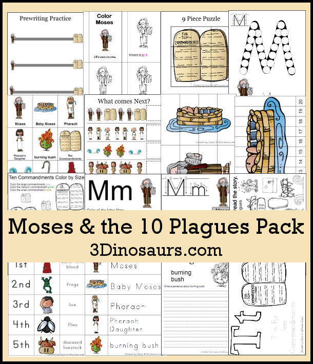 Free Moses & Ten Plagues Pack - over 75 pages of activities - 3Dinosaurs.com