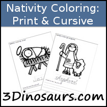 Nativity Color & Trace Printable