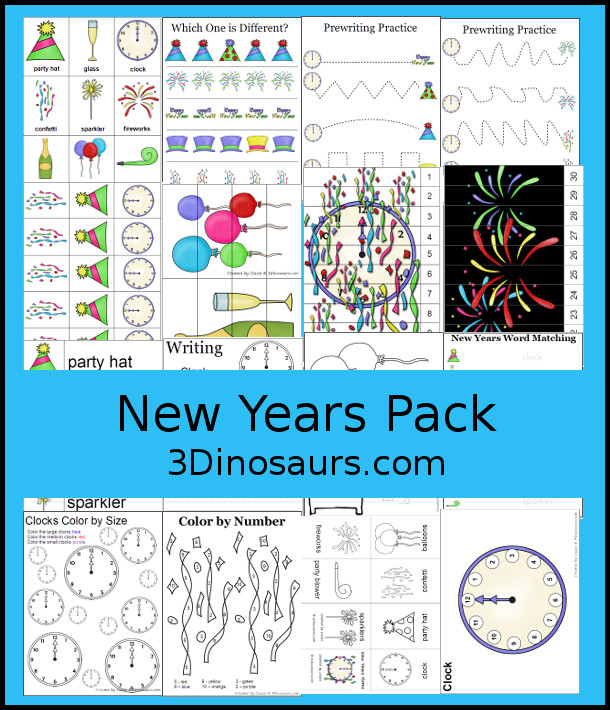 Free New Years Prek & Kindergarten Pack - with a mix of hands-on and no-prep activites for New Years - 3Dinosarus.com